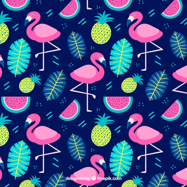 Padrão de flamingos com plantas e frutas na mão desenhada estilo Vetor grátis