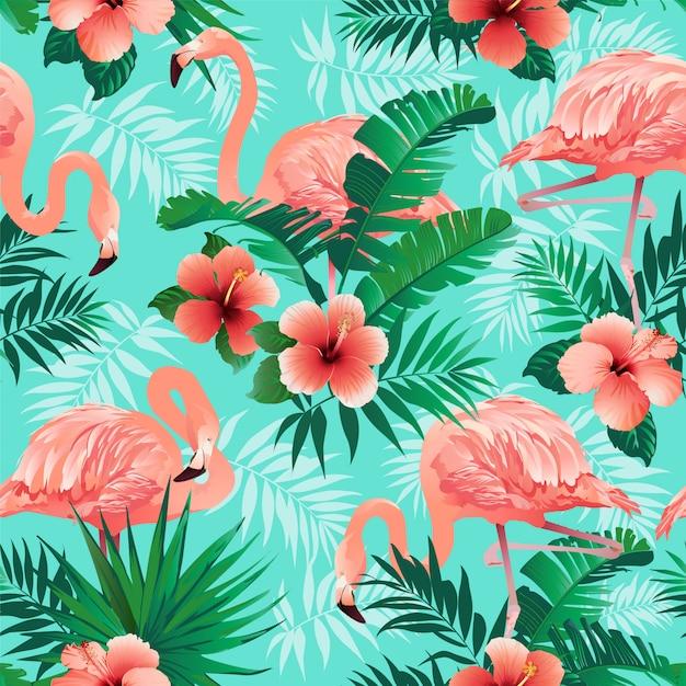 Padrão de flamingos cor de rosa Vetor Premium