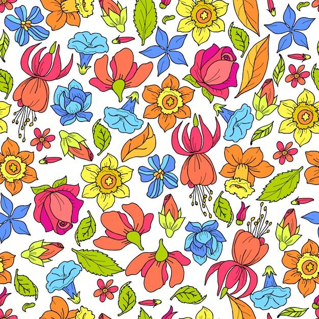 Padrão de flores coloridas Vetor Premium