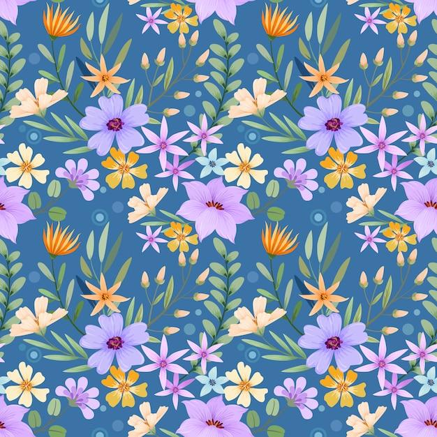 Padrão de flores desenhadas mão colorido. Vetor Premium