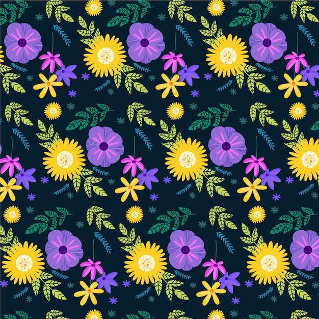 Padrão de flores e folhas exóticas pintadas à mão Vetor grátis