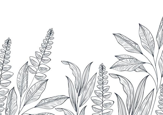Padrão de flores e folhas ícone isolado Vetor Premium