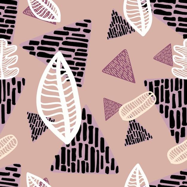Padrão de folha de outono sem costura com mão de triângulo desenhado Vetor Premium