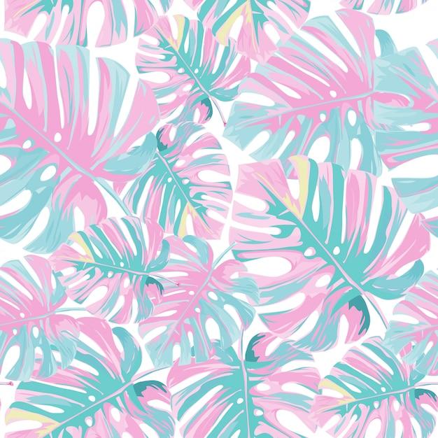 Padrão de folhas de palmeira rosa tropical. Vetor Premium
