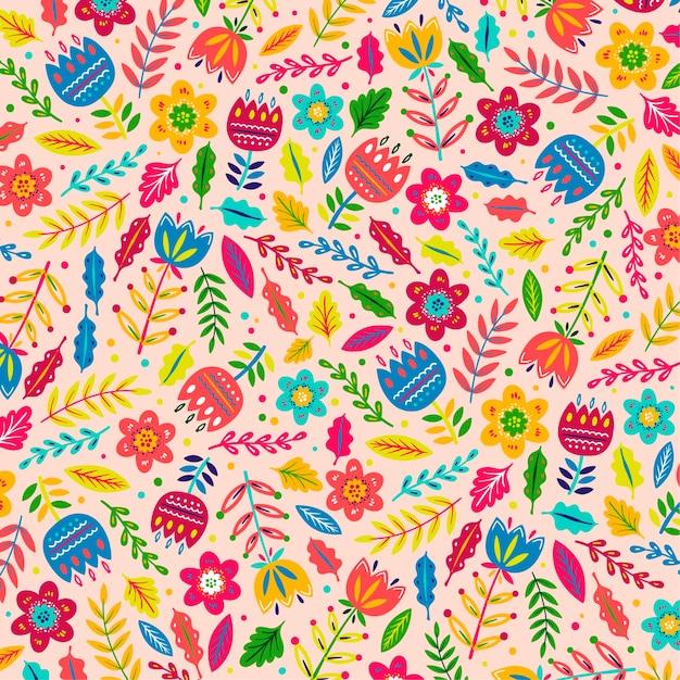 Padrão de folhas e flores exóticas pintadas à mão coloridas Vetor grátis