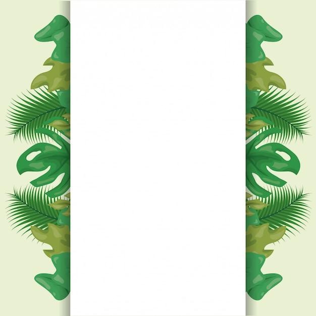 Padrão de folhas tropicais verdes com espaço em branco Vetor grátis