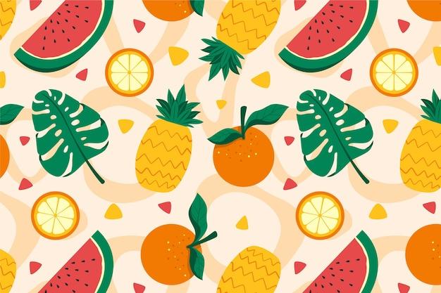 Padrão de frutas coloridas Vetor Premium