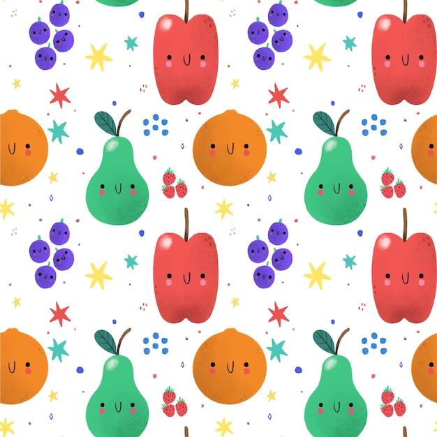 Padrão de frutas com maçãs Vetor grátis