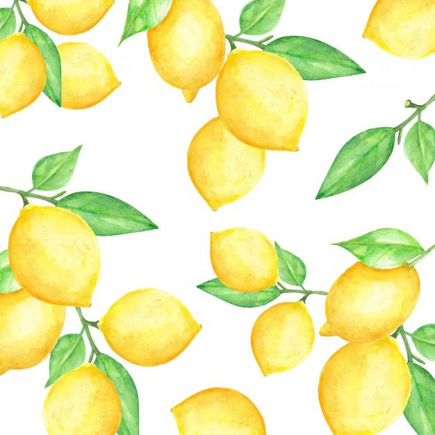 Padrão de frutas em aquarela de limão Vetor Premium