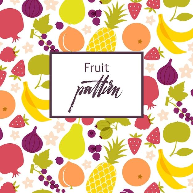 Padrão de frutas. tabela de alimentos saudáveis. cozinha vegetariana e vegetariana Vetor grátis