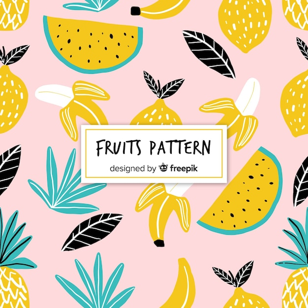 Padrão de frutas tropicais de mão desenhada Vetor grátis