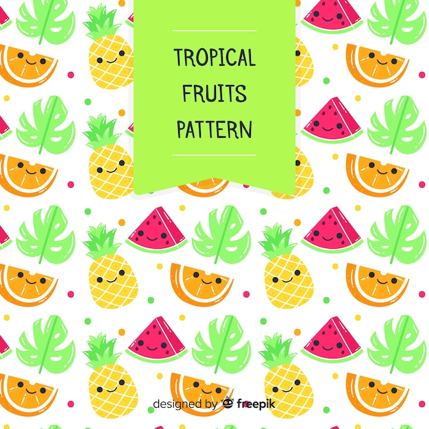 Padrão de frutas tropicais kawaii Vetor grátis