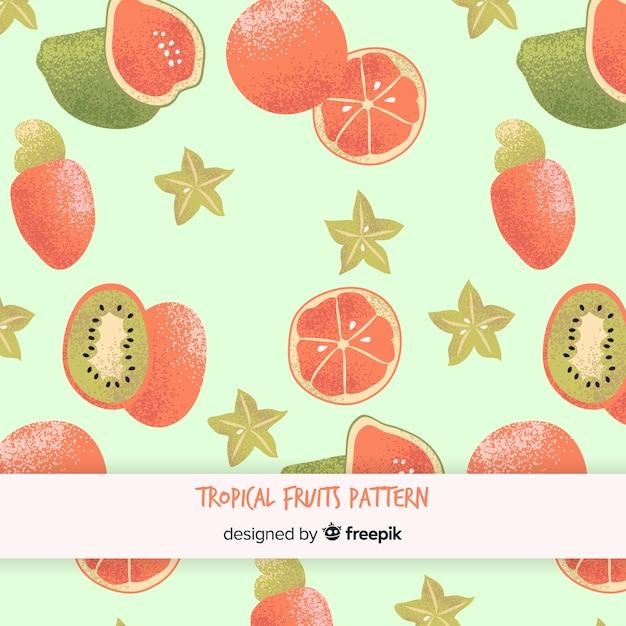 Padrão de frutas tropicais plana Vetor grátis