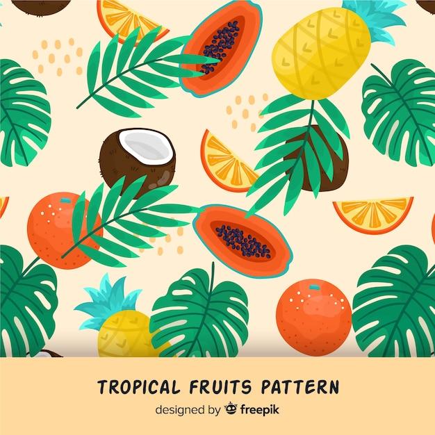 Padrão de frutas tropicais Vetor grátis