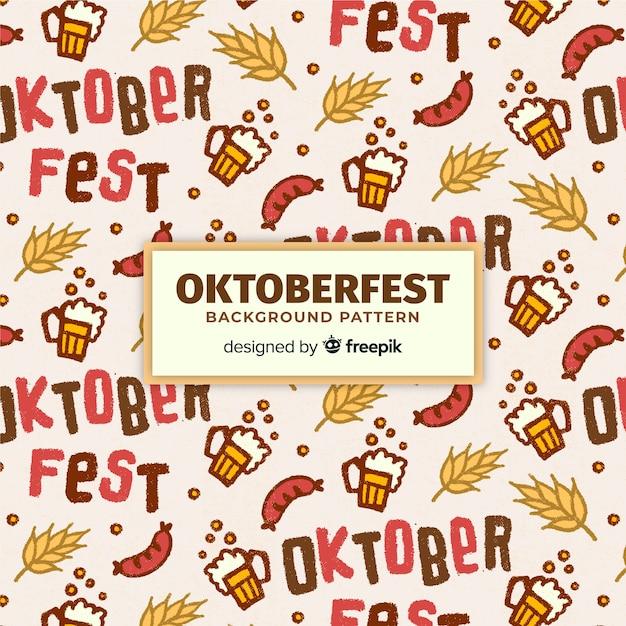 Padrão de fundo oktoberfest com elementos de comida e bebida Vetor grátis