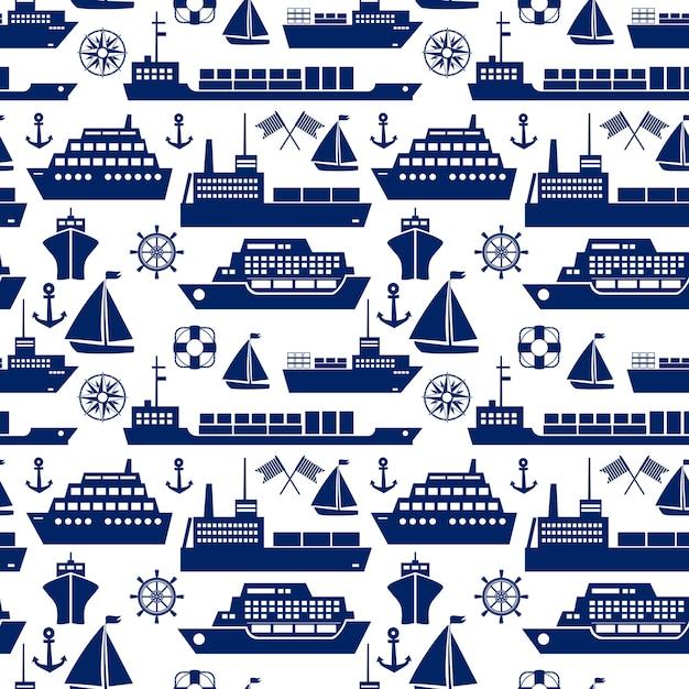 Padrão de fundo sem costura marinho de navios e barcos com ícones de vetor de silhueta de um navio de cruzeiro iate veleiro contêiner navio tanque cargueiro âncora semáforo bandeiras navios roda quadrado Vetor grátis