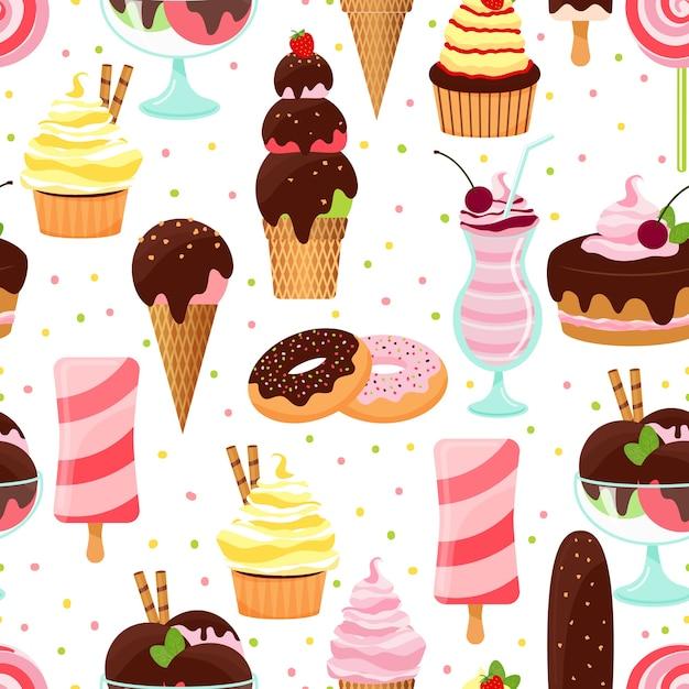 Padrão de fundo sem emenda de sorvete e doces coloridos de vetor com cones de sorvete sundae e sobremesas parfait bolo de donuts com cupcakes de cerejas e milk-shake em formato quadrado Vetor grátis