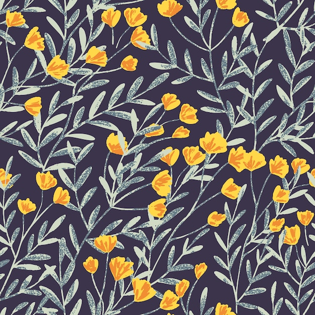 Padrão de fundo sem emenda de vetor desenhada mão com flores do campo e folhas e textura suave Vetor Premium