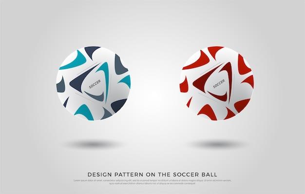 Padrão de futebol na bola de futebol. vermelho, preto e azul Vetor Premium