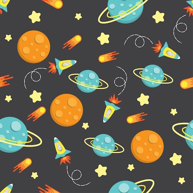 Padrão de galáxia foguete garoto dos desenhos animados sem emenda Vetor Premium
