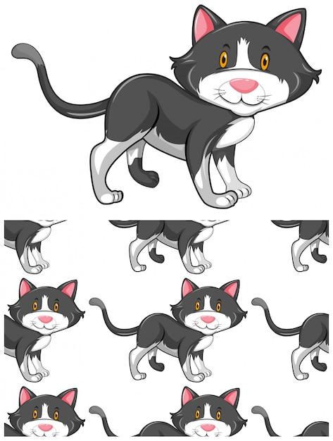 Padrão de gato sem emenda isolado no branco Vetor grátis