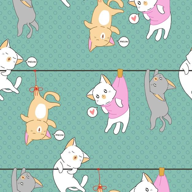 Padrão de gatos de fome. Vetor Premium