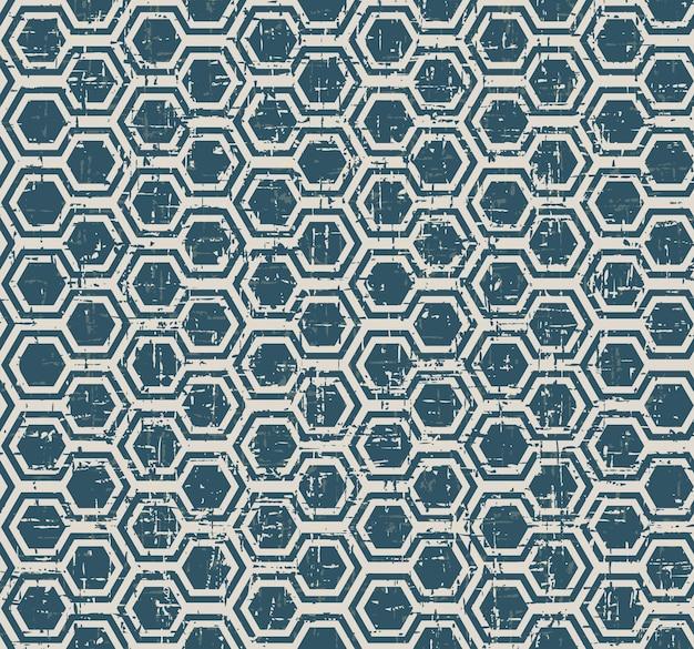 Padrão de geometria de polígono azul desgastado vintage sem costura Vetor Premium