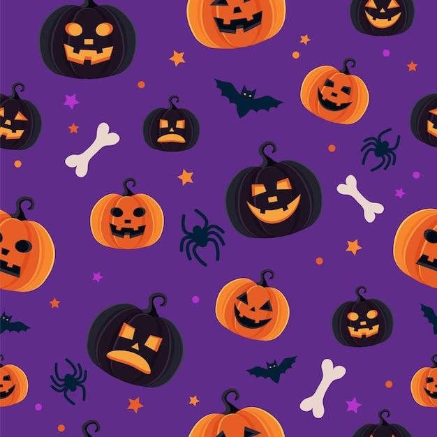 Padrão de halloween com diferentes abóboras, jack o lantern assustador, aranhas e morcegos Vetor Premium