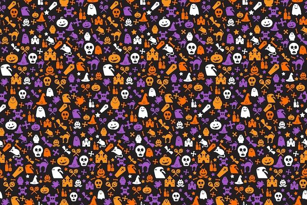 Padrão de halloween sem costura com abóboras, chapéus de bruxa, caveiras, morcegos, ossos e fantasmas. Vetor Premium