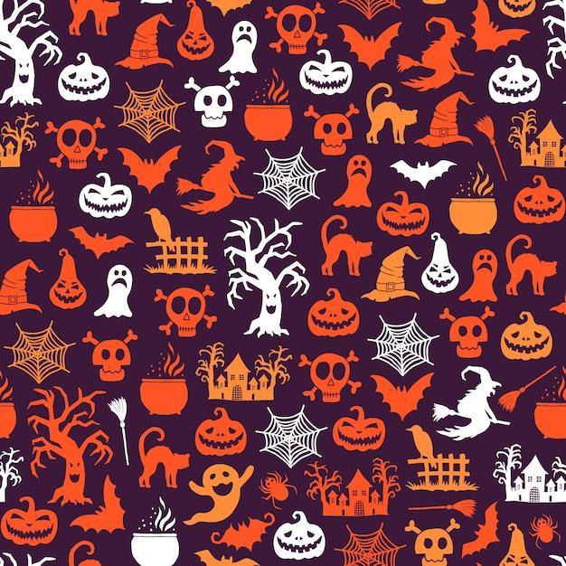 Padrão de halloween Vetor Premium