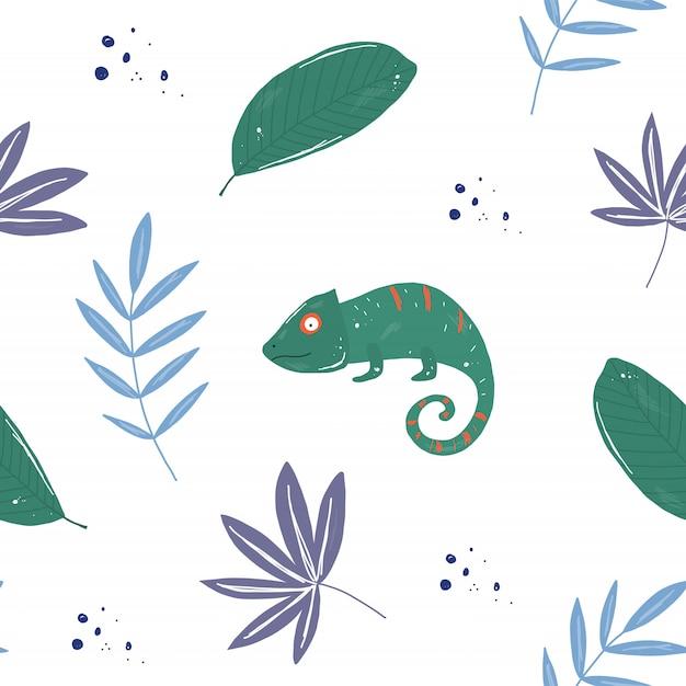 Padrão de hameleons tropicais Vetor Premium