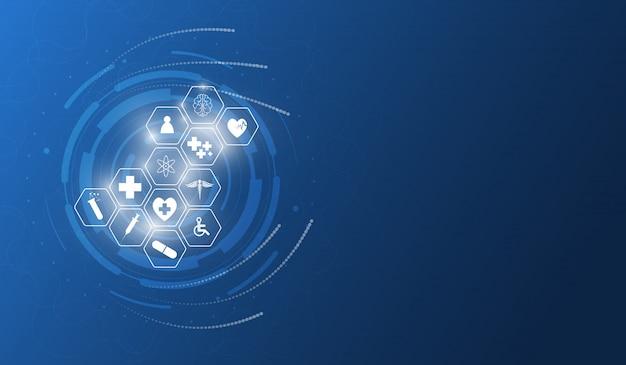 Padrão de ícone de cuidados de saúde design de plano de fundo de inovação médica Vetor Premium