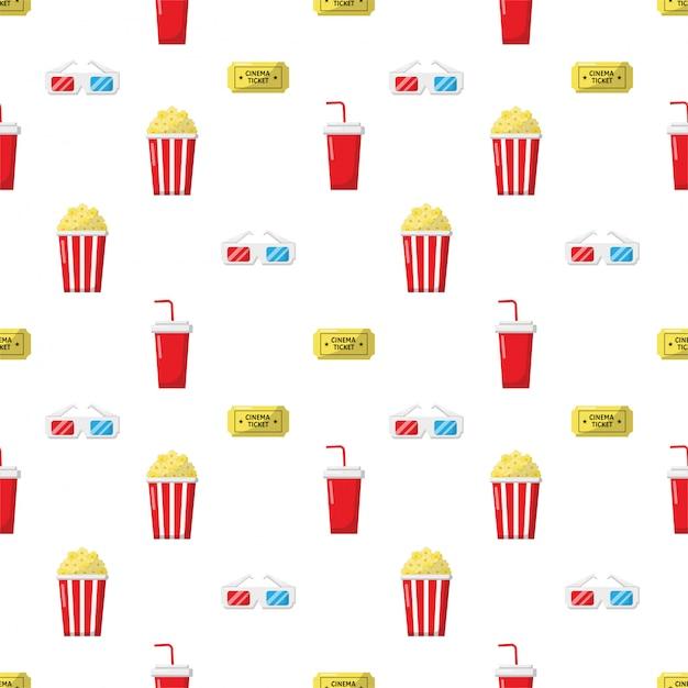 Padrão de ícones do cinema sem emenda. ícone de coleção de sinais e símbolos para sites com fundo branco. Vetor Premium
