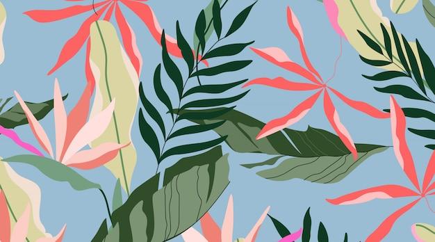 Padrão de ilha tropical. design sem costura de fundo azul. folhas de palmeira havaiana, folhas de bananeira e flores de strelitzia. Vetor Premium