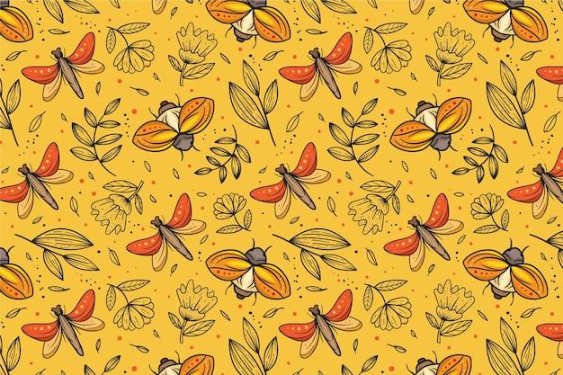Padrão de insetos e flores Vetor grátis