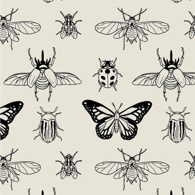 Padrão de insetos em preto e branco Vetor grátis
