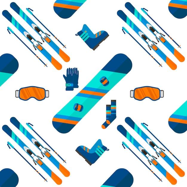 Padrão de inverno com coleção de ícones do esporte. esqui e snowboard em um fundo branco no design de estilo simples. elementos para imagens de estação de esqui, atividades de montanha, ilustração vetorial. Vetor Premium