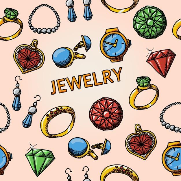 Padrão de joias sem costura desenhado à mão Vetor Premium