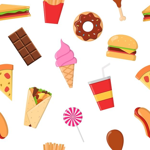 Padrão de junk food junk food Vetor Premium