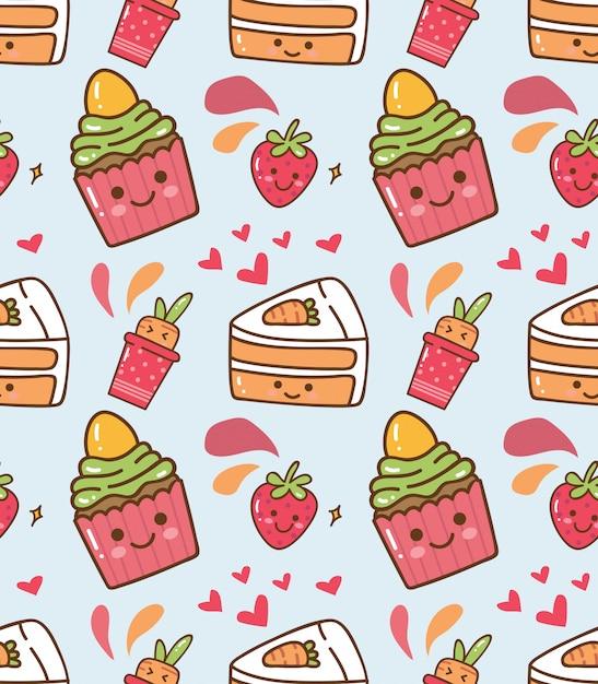 Padrão de kawaii de bolinho de morango Vetor Premium