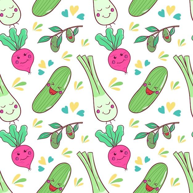 Padrão de legumes kawaii saudável com arte doodle Vetor Premium