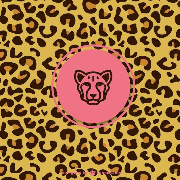 Padrão de leopardo com etiqueta Vetor grátis