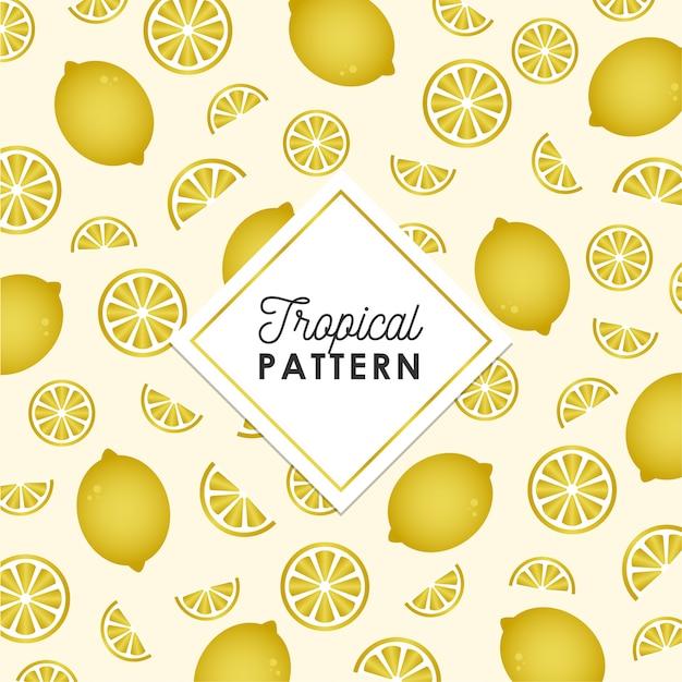Padrão de limão tropical na cor dourada Vetor grátis
