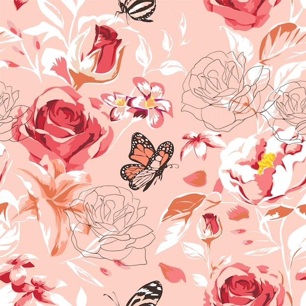 Padrão de linda primavera sem costura com rosas, peônia, orquídea e suculentas Vetor Premium