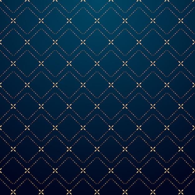 Padrão de linha de traço de ouro abstrato quadrados geométricos Vetor Premium