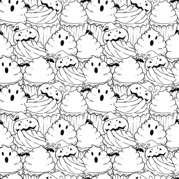 Padrao De Livro Para Colorir De Halloween Com Cupcakes