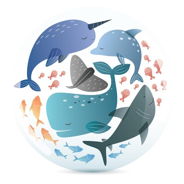 Padrão de mamíferos marinhos Vetor Premium