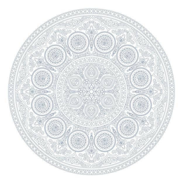 Padrão de mandala azul no estilo boho em branco Vetor Premium