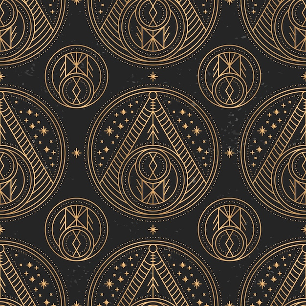 Padrão de mandala de ouro de luxo Vetor grátis