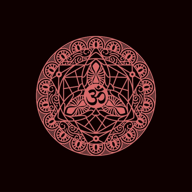Padrão de mandala decorativa com símbolo om. Vetor Premium